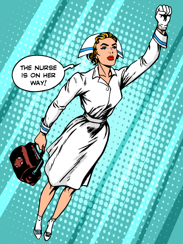 Cartoon of a nurse flying through the air, she's on the way!