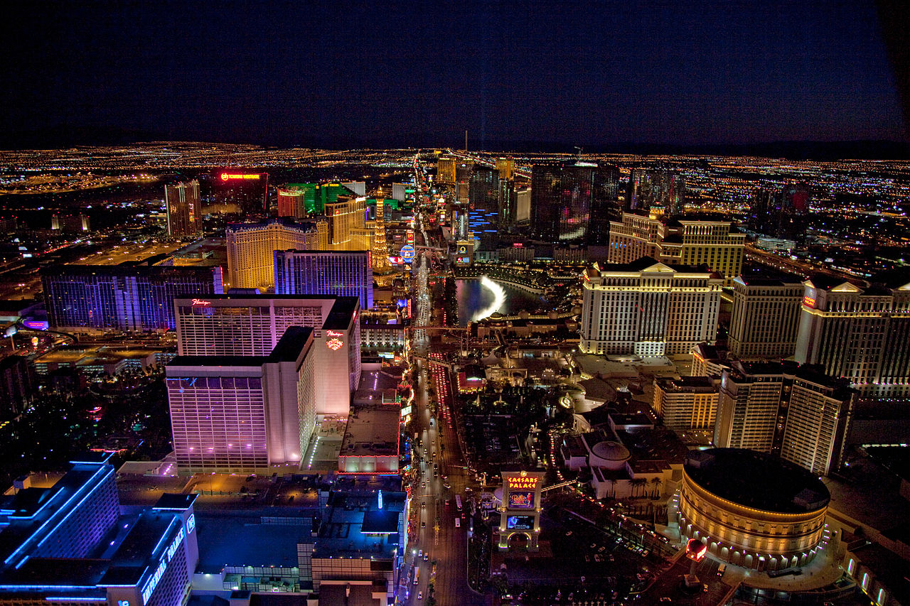 Las Vegas skyline at night from above the city