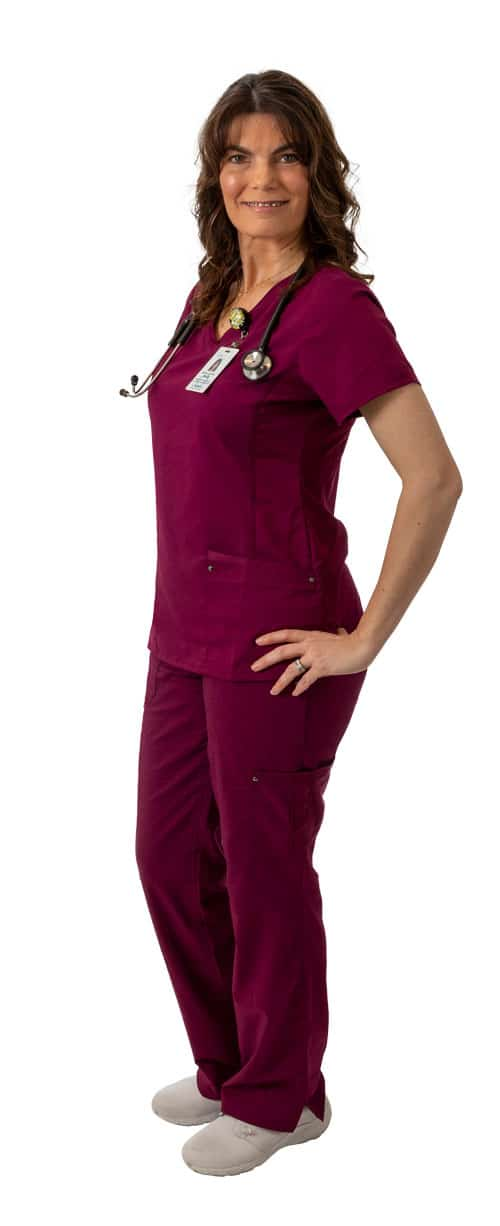 Nurse in red scrubs wearing stethoscope