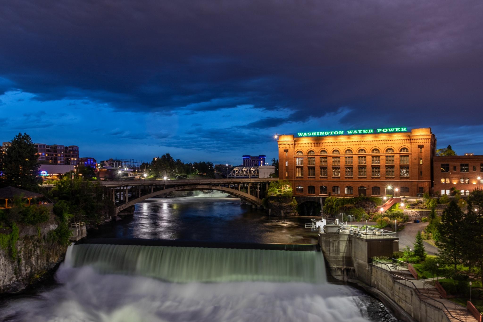 Night view of Spokane, Washington