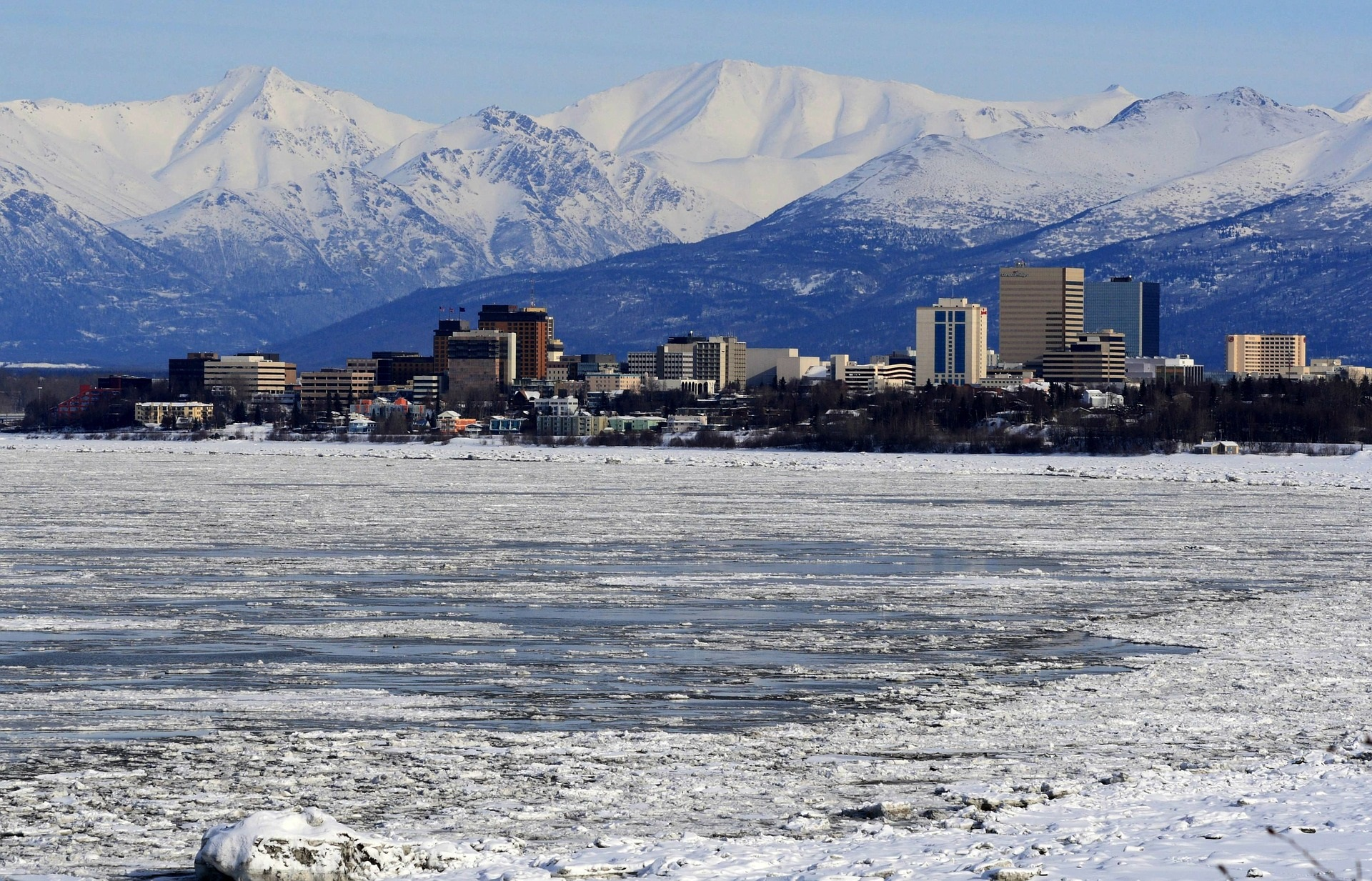 Snowy view of Anchorage, Alaska