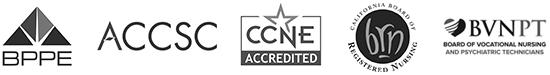 BBPE, ACCSC, CCNE, BRN, and BVNPT accreditation logos