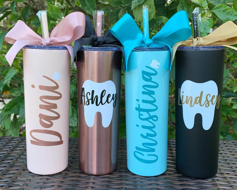 Personalized tumbler with a tooth print