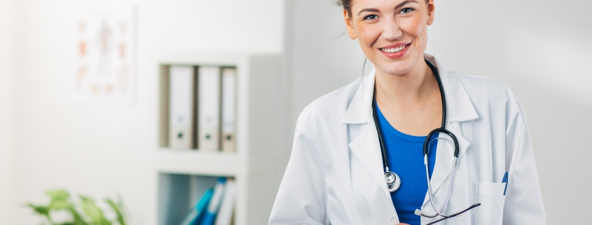 Medical professional in a lab coat