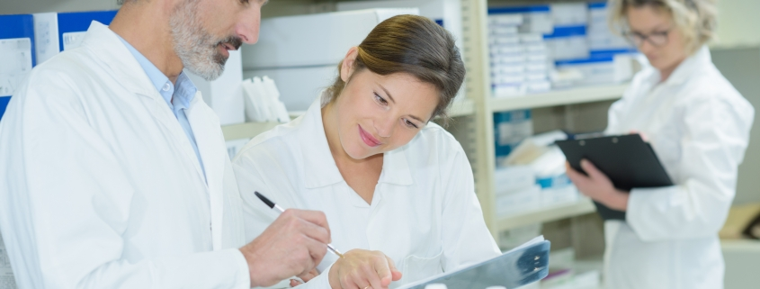 Healthcare team checking medical records